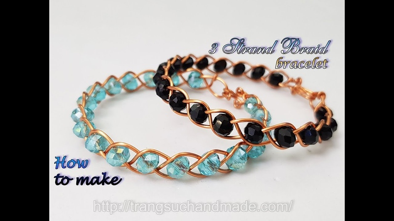 3 Strand Braid bracelet from copper wire and small crystal How to make handmade jewelry 488