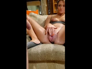 Sexy petite milf pumping her fat cum dripping pussy
