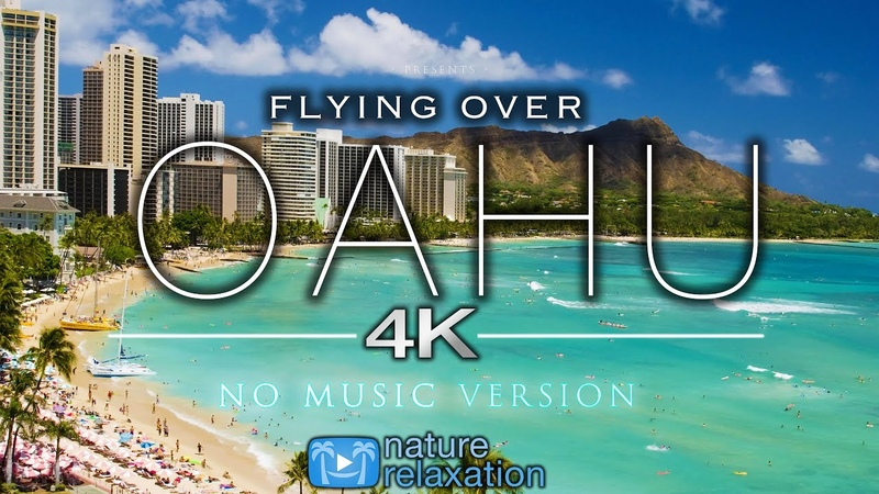 Flying Over Oahu 4K NO MUSIC Aerial Nature Relaxation™ Drone Film Waikiki to North Shore Flight