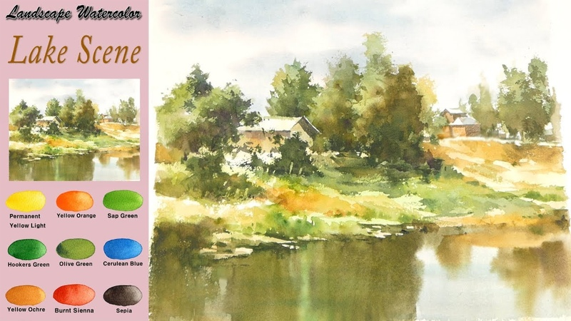 Without Sketch Landscape Watercolor - Lake Scene (wet-in-wet, Arches rough) NAMIL ART