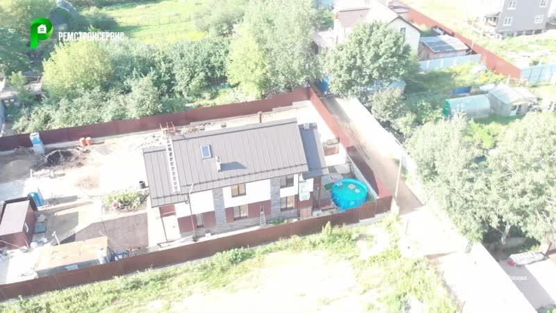 Дом в стиле шале с мансардой и цоколем для узкого участка строительство под ключ РЕМСТРОЙСЕРВИС