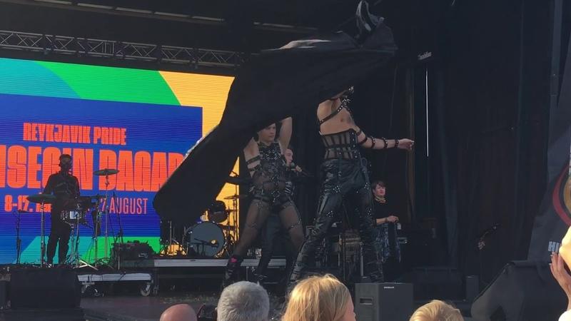 Spillingardans Hatari at Reykjavík Pride 2019