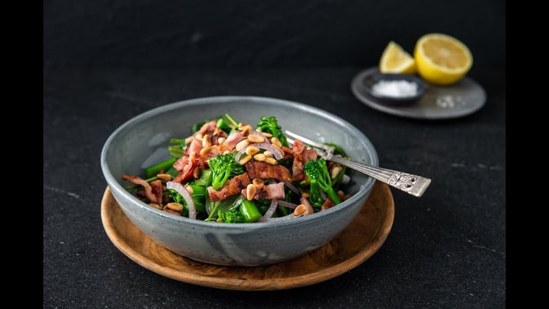 Broccolini Salad With Bacon Pine Nuts