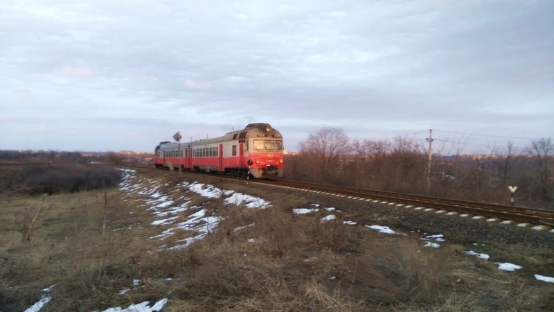 Дизель поезд Д1 729 702 на перегоне Чумаково Мушкетово ДонЖД 26 02 2020 г
