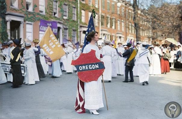 Ты помнишь, как все начиналось Полюбуйтесь на оцветненные фотографии с первых маршей суфражисток, которые боролись за права женщин в начале XX века. В те времена в Америке дамы выходили на улицы