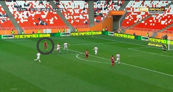 Мелкадзе получает мяч и еще смотрит на партнеров, не видит никого открытого доступного для паса, принимает решение сместиться в центр и завершить атаку ударом.