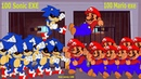 100 Sonic exe vs 100 Mario exe - Movie Sonic The Hedgehog PRISON ESCAPE Animation ソニック v ソニック