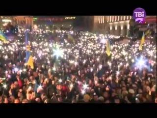 """#Євромайдан вибухнув """"Героям слава!"""" і з'явилися тисячі ліхтариків..."""