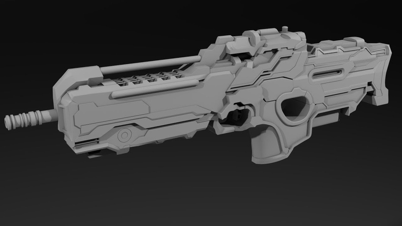 Sci-fi weapon hard surface modeling in 3Ds max – part 3