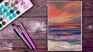 Рисунок алого заката поэтапно / Drawing a Pink Sunset (Oil Painting in Time-Lapse) / ΛΔΛΜ