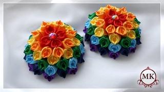 Радужные цветы из лент. Канзаши. МК. / DIY. Flowers. Rainbow. Kanzashi.