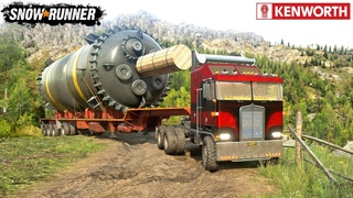 SnowRunner - KENWORTH K100A Truck With Oversized Trailer Driving On A Narrow Road