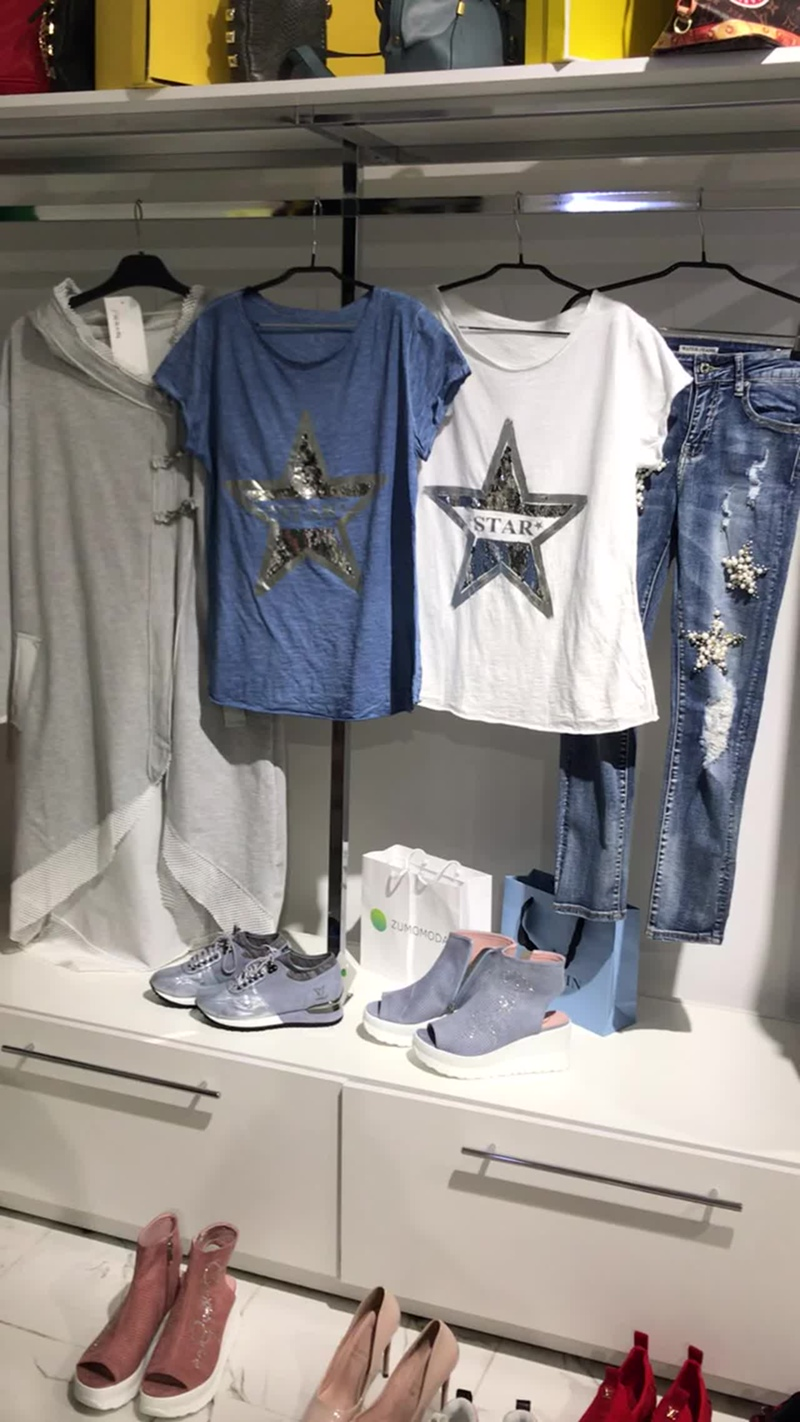 Кардиган с карабинами серый футболка звезда белая синяя