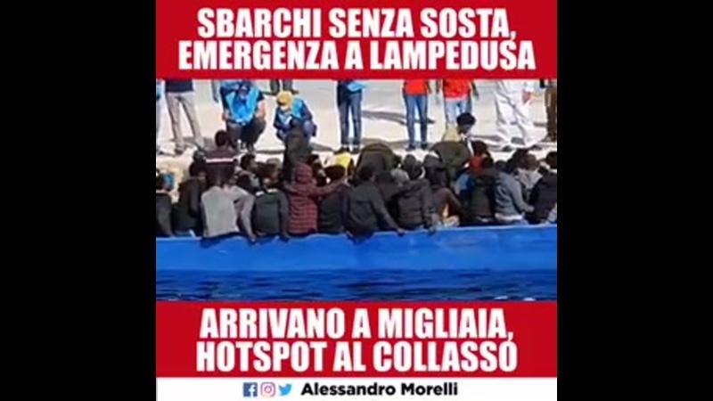 Migliaia di arrivi a Lampedusa centinaia solo negli ultimi 2 giorni guardate la situazione sull'isola Lamorgese a casa 🤚🏻🖤