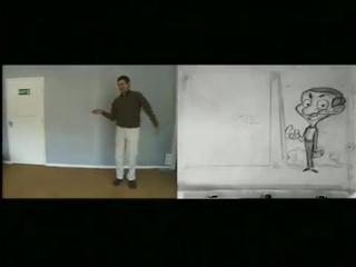 Черновая анимация, позирование Роуэна Аткинсона и конечный результат. Заставка мультсериала о Мистере Бине