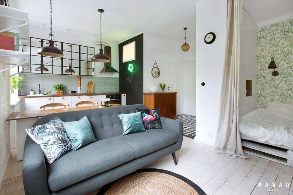 Интерьер квартиры-студии 31 м в Варшаве, Польша.