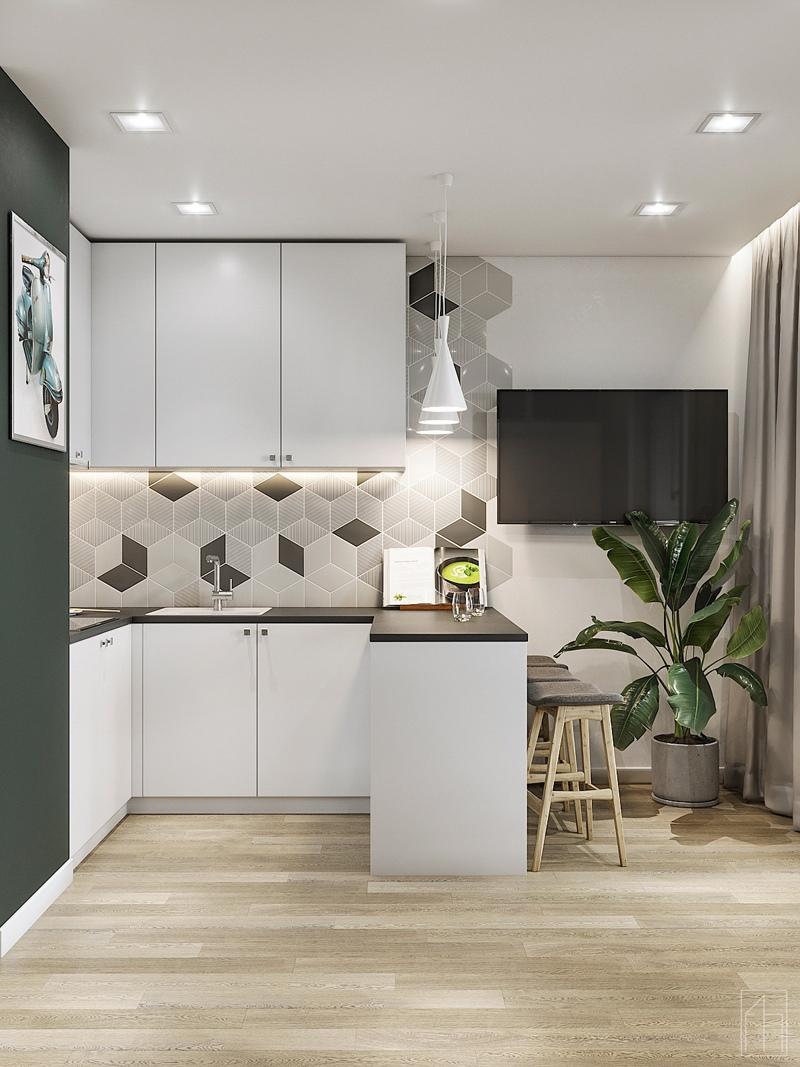 Проект квартиры-студии 23 м (с лоджией – 28 м).