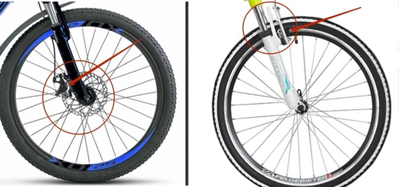 Слева велосипед с дисковым тормозом, справа с ободным. В первом случае колодки зажимают диск, во тором обод. Велосипеды с ободными тормозами как правило дешевле.