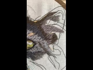Процесс 2 недели Феня   Вышивка портретов животных