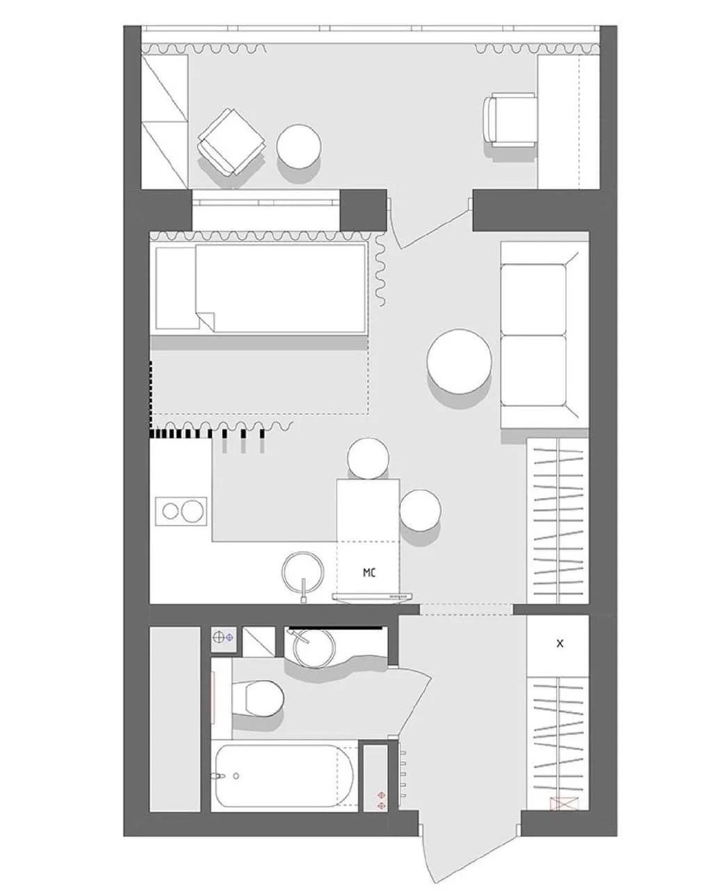 Концепт маленькой квартиры-студии около 22 кв.