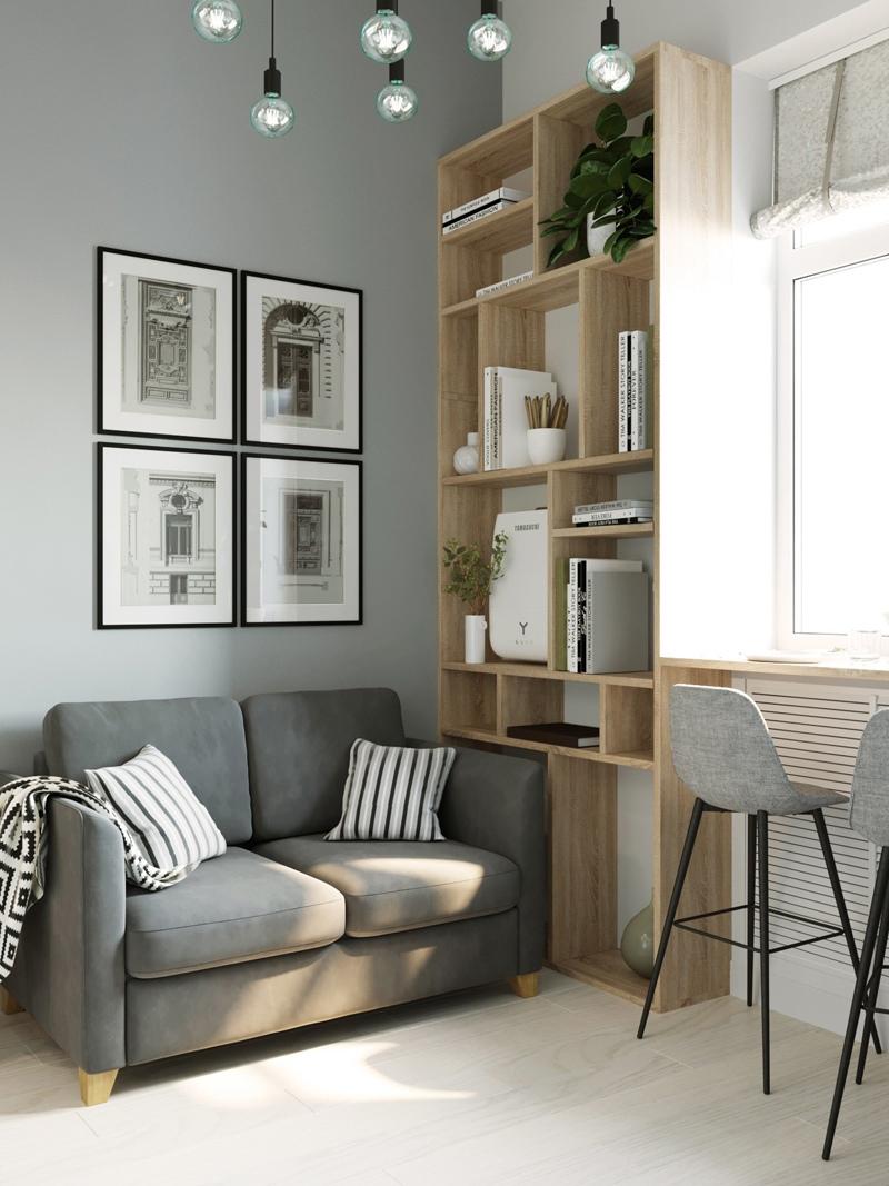 Концепт маленькой двухуровневой квартиры-студии 12 кв.