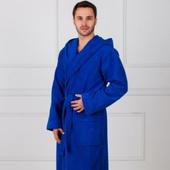 Премиум - Синий мужской махровый халат с вышивкой