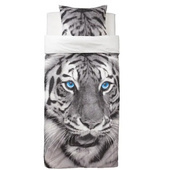Пододеяльник и 1 наволочка, тигр, серый, 150x200/50x70 см