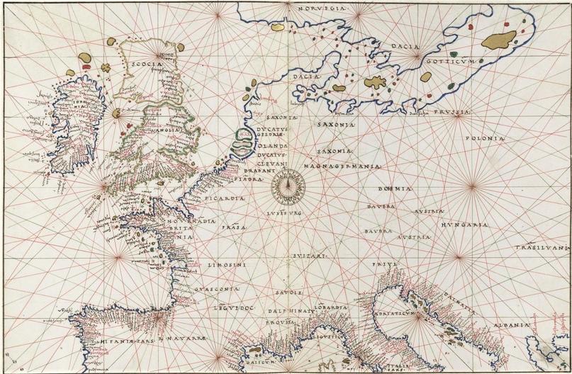 Европа в морском атласе Баттиста Аньезе (1544)