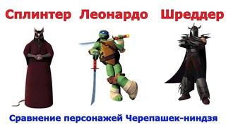 Сравнение всех персонажей из Черепашек-ниндзя