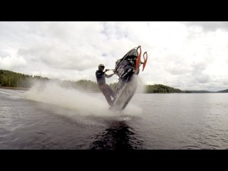 StuntFreaksTeam   Snowmobile wheelies on water