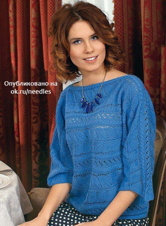 Цельновязаный пуловер фантазийным узором спицами