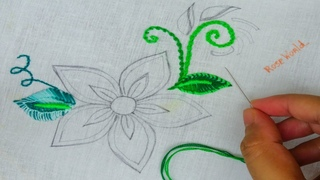 Exclusive hand embroidery flower design with unique leaf stitch by rose world, beads embroidery