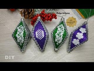 Игрушки на елку своими руками из фоамирана / DIY новогодние украшения