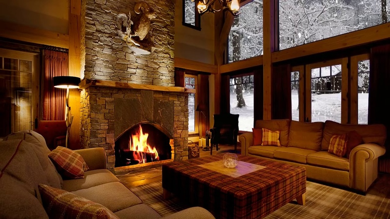 Fireplace in a winter house