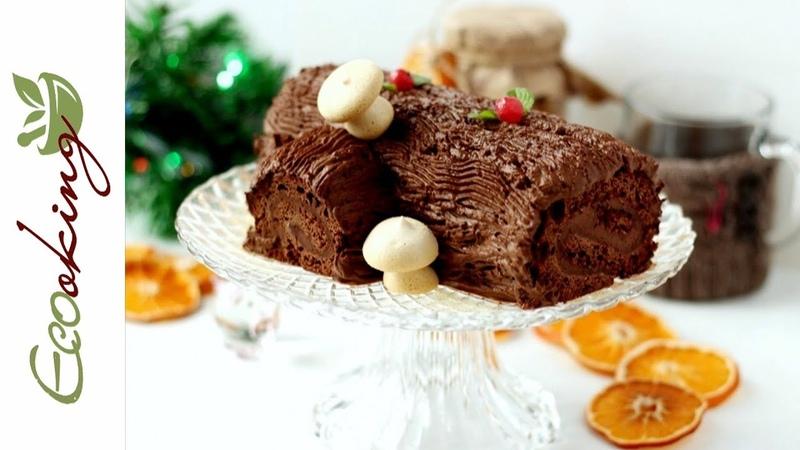 Рождественское полено на аквафабе Yule Log постный vegan БГ gluten free без сахара
