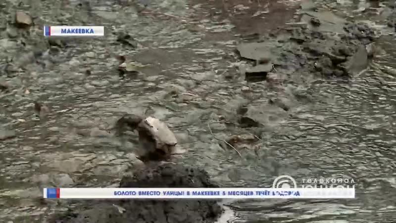 Болото вместо улицы В Макеевке 5 месяцев течёт водовод