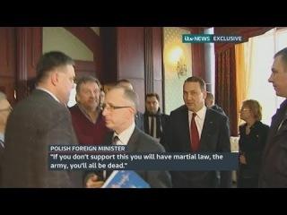 """Ukraine protests: Polish minister Radoslaw Sikorski warns protest leader """"you'll all be dead"""""""