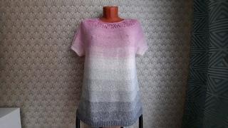 Готовая работа. //Джемпер  розово -серый с круглой ажурной кокеткой.// Короткий обзор, экспресс МК.