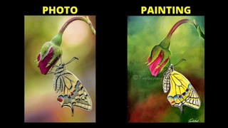 step by step Acrylic painting on canvas Butterfly painting   How to paint Rose Bud   Art Ideas easy