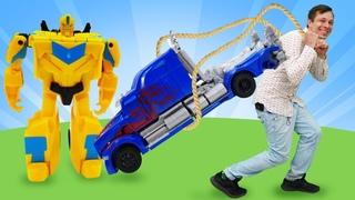 Игры для мальчиков и Трансформеры: Бамблби упал в воду! Супергерои игры битвы в Автомастерской