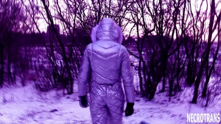 Winter silver mother-of-pearl ski overalls snow suit with modern gas masks and respirators.