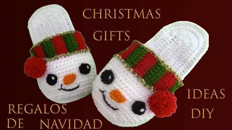 Como hacer pantuflas a crochet de muñeco de nieve para regalo Christmas Ideas Gifts